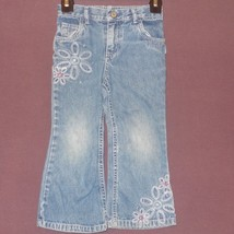 Blue Jeans Denim Floral Embroidery Faded Size 4T  Carter's Kids Girls - $7.99