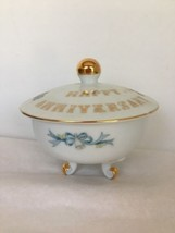 Sugar Bowl Lefton China Anniversary Footed Gold Trim Decals Bells Floral... - $14.84