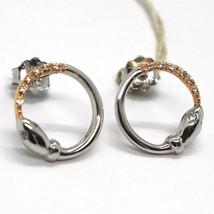 Boucles D'Oreilles Pendantes or Blanc Rose 18K,Cercle,Serpent,Zirconia image 1