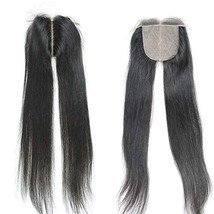 SHANELL Hair Silk Base Top Closure Straight Bleached Hidden Knots Middle... - $42.72