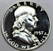 1957 Proof Franklin Half Dollar; Gem Proof; Mild Cameo  - $98.99