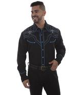Men's Western Shirt Black Long Sleeve Rockabilly Country Cowboy Cross Em... - $87.38