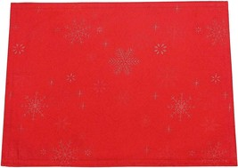 PEGGY WILKINS RED SNOW CRYSTAL TABLECLOTH CHRISTMAS 67X100IN - $40.42