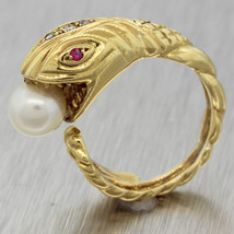 Vintage Ilias Lalaounis 18K Yellow Gold Diamond Pearl Ruby Snake Serpent... - £955.67 GBP