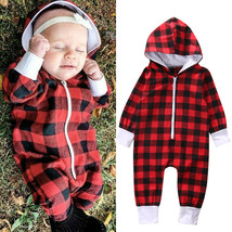 Girl Cotton Clothes Romper Long Sleeve Plaid Zipper Cute Jumpsuit Rompers - $17.65 CAD+