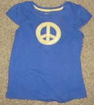 EUC Gymboree Flower Showers Peace Blue Shirt Size S Small 5-6 - $9.49