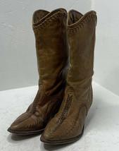 Zodiac Genuine Leather Women's 6.5 Brown Braided Stitching Cowboy Boots L5 - $36.63
