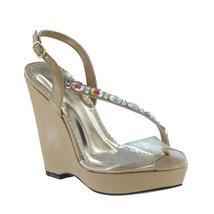Johnathan Kayne Taupe Formal Swarovski Crystal Embellished Wedge Sandal ... - $104.95