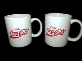Coca-Cola Coffee Mugs Cups Set of 2 White with Red Enjoy Coca-Cola Logo - $8.42
