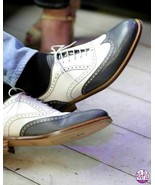 Men's Handmade Genuine Leather Two Tone Lace up Dress Shoes, Men Wingtip... - $179.99