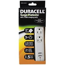 Duracell Surge Protector With 2 USB Charging Ports White - $12.99