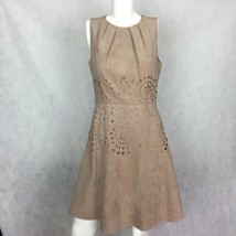 Jessica Simpson Dress Faux Suede Beige Cutouts Fit Flare Career Casual Sz 6 - $39.99