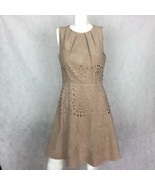 Jessica Simpson Dress Faux Suede Beige Cutouts Fit Flare Career Casual Sz 6 - $39.99