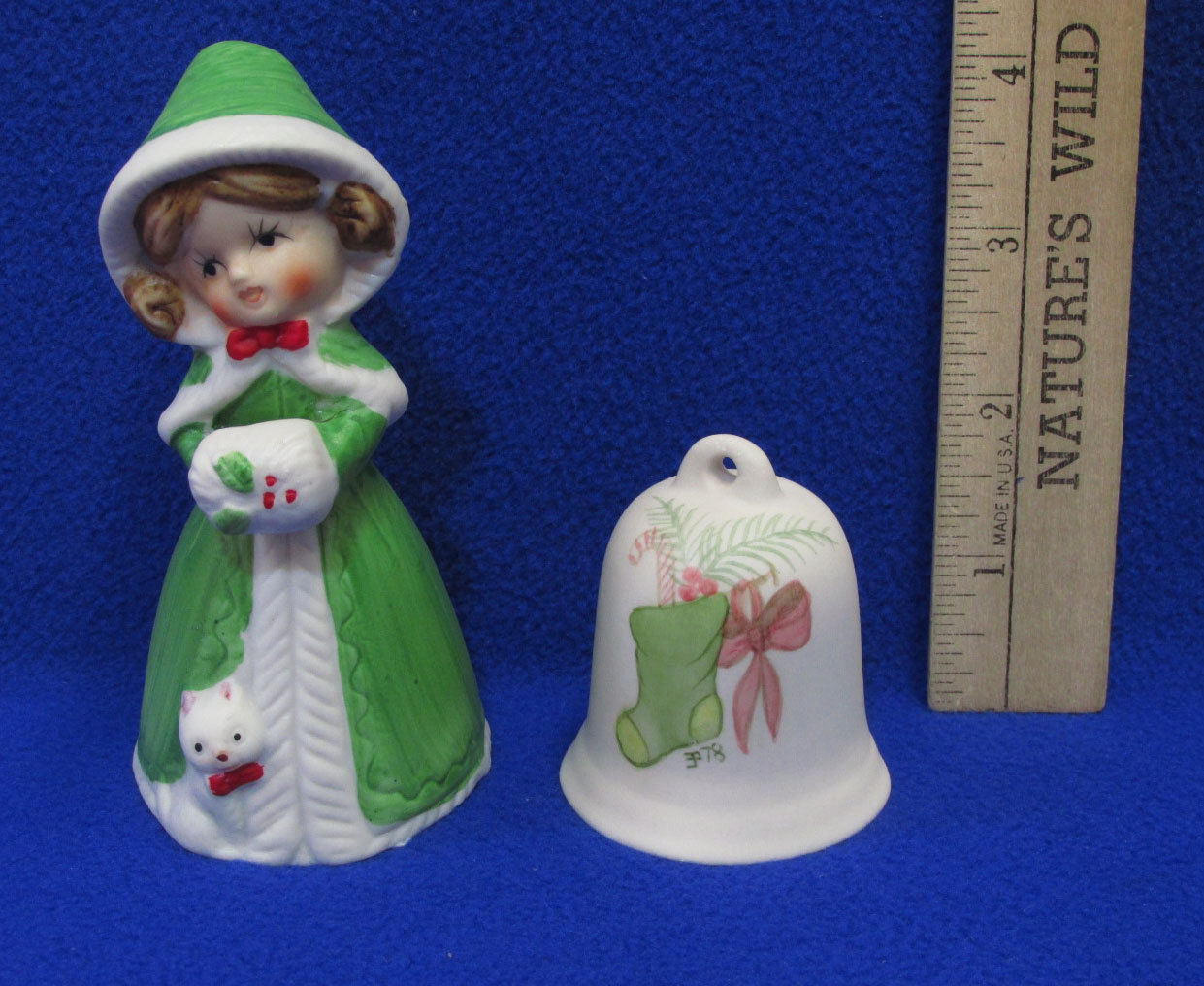Vintage Christmas Bells Jasco Green Girl Ceramic & Green Stocking Lot of 2 - $9.89