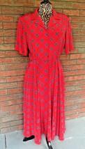 Vintage Liz Claiborne Dress 10P Short Sleeve Button Up Midi Shoulder Pad... - $34.65