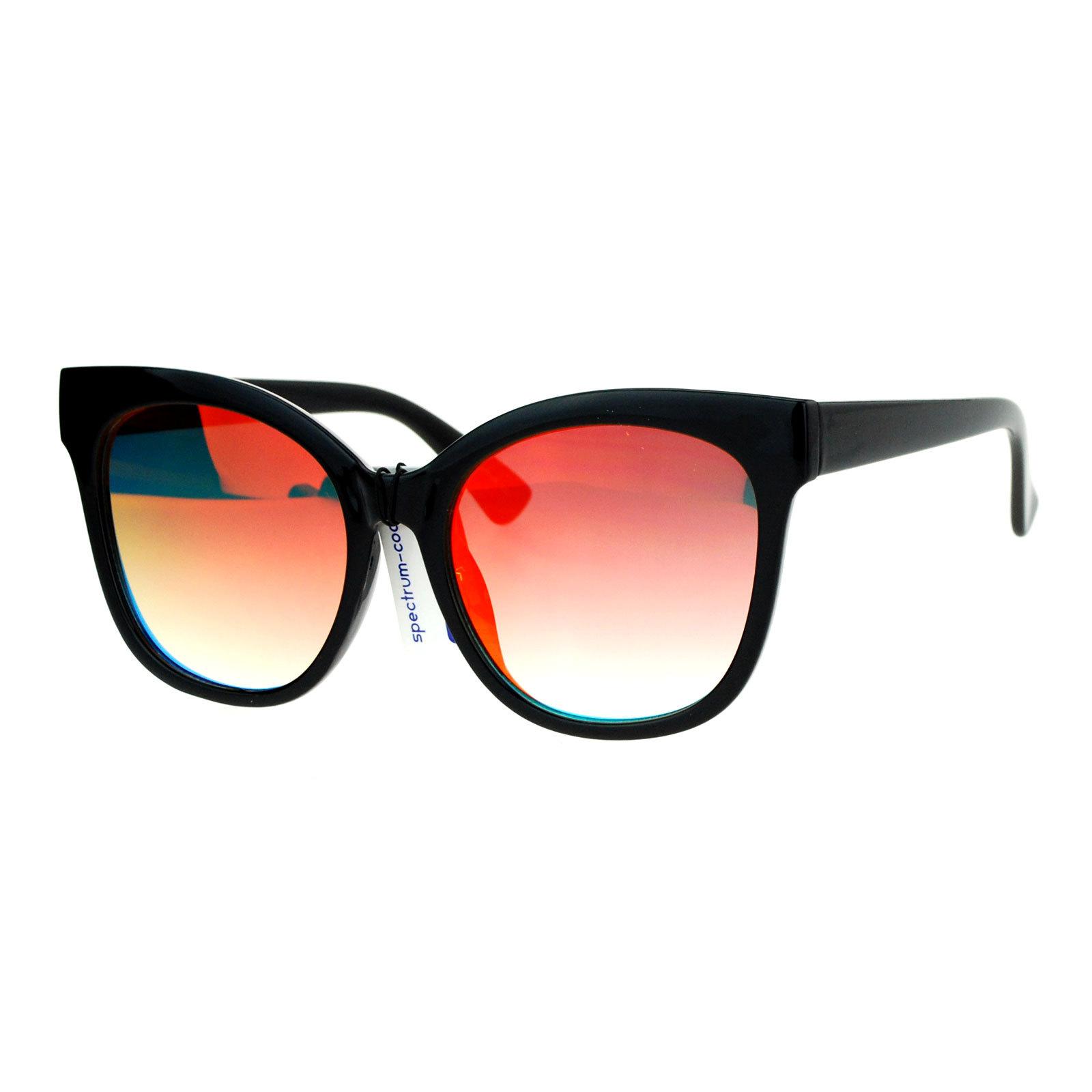 SA106 Color Mirror Flat Lens Oversize Horn Rim Sunglasses