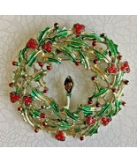 Vintage Estate Holiday Wreath Candle Enamel Gold Tone Christmas Brooch P... - $16.99
