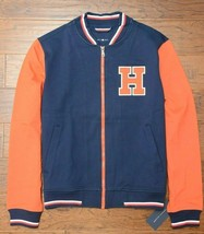 Tommy Hilfiger $195 Full Zip Men's Navy/Orange Rayon Sport Varsity Jacket L - $87.11