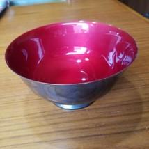 "Reed & Barton Revere Bowl 1120 Red Enamel Interior 6.5"" Diameter Vintage - $24.18"