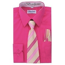 BERLIONI ITALY TODDLERS KIDS BOYS LONG SLEEVE DRESS SHIRT TIE & HANKY FUCHSIA