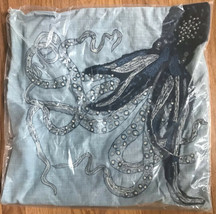 Pottery Barn Octopus Tenticle Pillow Cover 20 sq Embroidered Coastal Decor - $99.00
