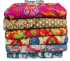 Indian Kantha Floral Quilt Vintage Throw Handmade 100% Cotton Blanket Be... - $37.50