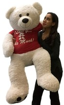 Giant Valentine Teddy Bear 52 Inch Soft White Wears T-shirt I LOVE YOU T... - $124.21
