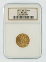 1927 Netherlands 1 Ducat Gold Coin Graded by NGC as MS-64 - $396.00
