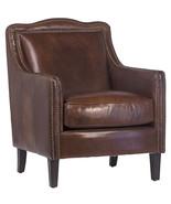 Top Grain Vintage Cigar Leather Club Chair Antique Brass Nail Head,28'' ... - $1,678.05