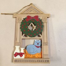 Avon Christmas Ornament Holiday Window Cat Wreath Stocking Collectible - $9.89