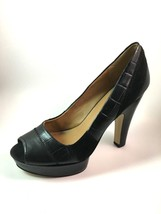Nine West Eclairs Black Leather Peep Toe Pump Size 8.5 - €43,09 EUR