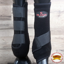 Hilason Infra Tech Horse Medicine Sports Boots Rear Hind Leg Black U-0BLK - $55.95