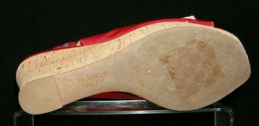 Franco Sarto 'Carnival' red peep toe buckle slingback cork platform wedges 9M image 9