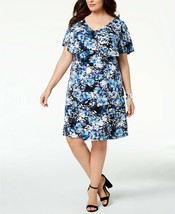 Connected Women's Blue Multi Printed Flutter-Sleeve Dress Plus Size 20W $79 - $34.64