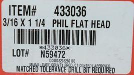 HILTI KWIK CON II 433036 PLUS PHILLIPS FLAT HEAD SCREWS 3/16 x 1 1/4 Box of 100 image 5