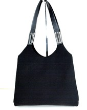 Auth SALVATORE FERRAGAMO Black Nylon & Leather Hobo Shoulder Bag ITALY A... - $98.01