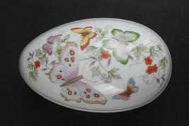 Vintage 1970's AVON Porcelain Butterfly Egg Trinket Box with 22K Gold Trim - $16.80