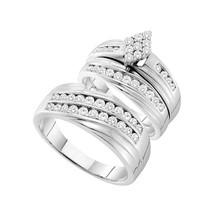 14k White Gold His Hers Round Diamond Cluster Matching Bridal Wedding Ring Set - $1,799.00