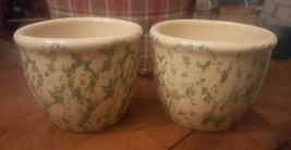 2 Green Tan Spongeware Kitchen Crocks Custard Cups 10 oz RRP Roseville Ohio #2 - $6.99