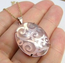 "Pink Quartz 18K Rose Gold over Sterling silver scroll Pendant w/ chain 18"" - $31.31"
