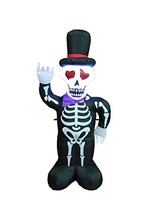 BZB Goods 4 Foot Halloween Inflatable LED Lighted Skull Skeleton with Ha... - $48.68