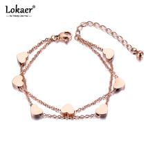 Lokaer Heart Charm Double Layers Bracelet Bangle For Women Stainless Steel Link  - $10.33