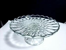 Vintage Anchor Hocking Clear Glass Fairfield Pattern #1200 Pedestal Cake... - $14.84