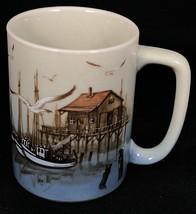 Otagiri Coffee Mug Cup Fishing Dock Ships Boats Seagulls Fish House 2 7/... - $14.84