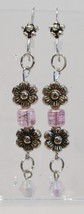 handmade pink and silver flower bead and crystal drop earrings - $9.00