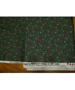 Northcott quilter fabric cotton Let it snow green cute little buttons b... - $10.40
