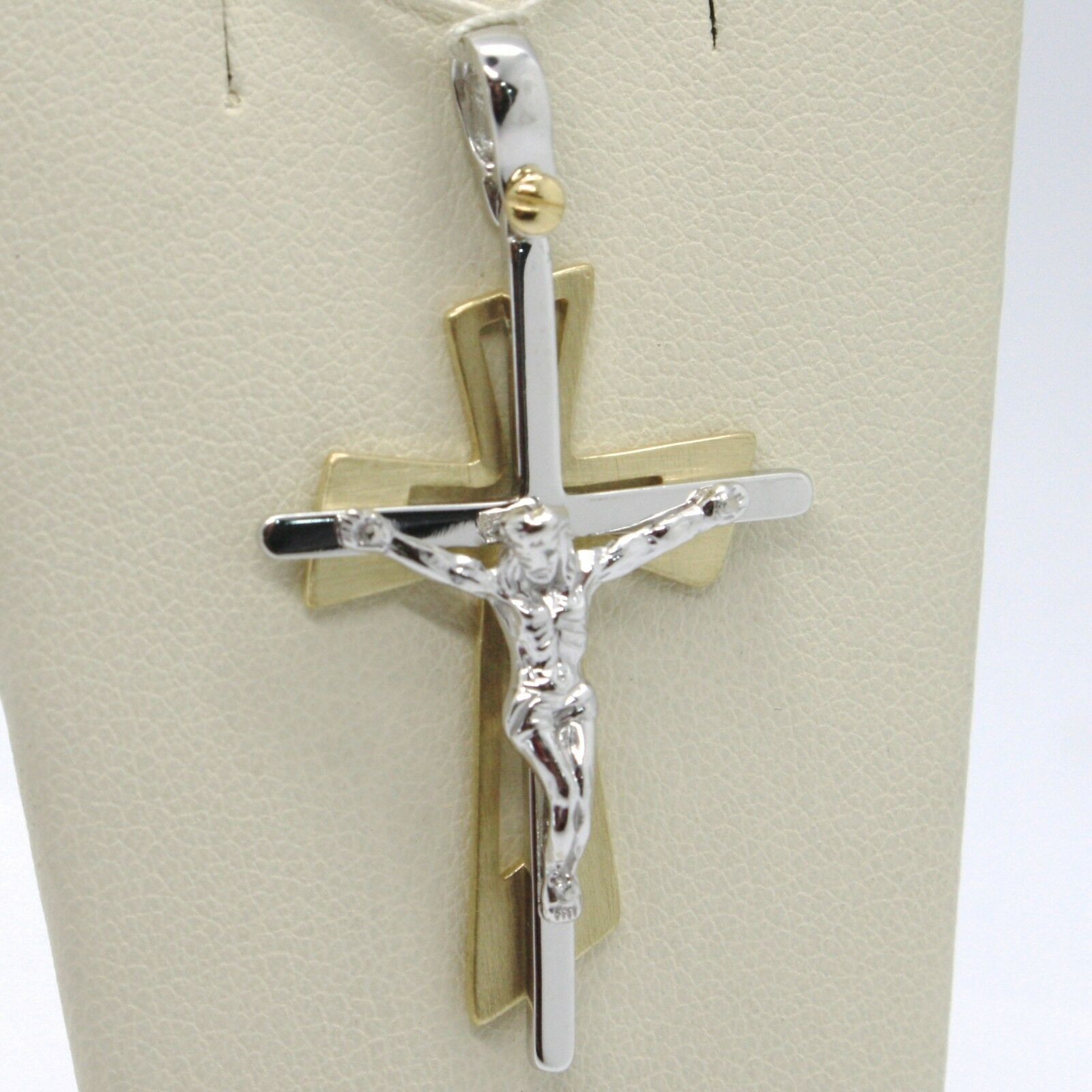 SOLID 18K WHITE YELLOW GOLD PENDANT DOUBLE CROSS, JESUS, SATIN, MADE IN ITALY