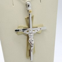 SOLID 18K WHITE YELLOW GOLD PENDANT DOUBLE CROSS, JESUS, SATIN, MADE IN ITALY image 1