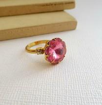 Vintage Pink Flower Shaped Gemstone Gold Fashion Ring Adjustable Size 5.... - $14.44