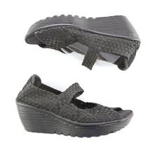 Skechers Black Weave Memory Foam Open Toe Wedge Sandals Shoes Womens 8 S... - $34.49